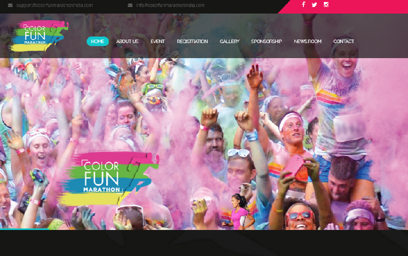 Dynamic Website Designing for Color Fun Marathon India